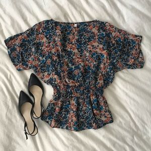 Floral Smocked Waist Tunic Blouse